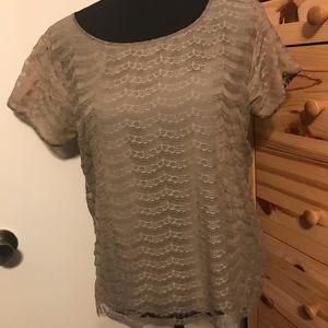 J. CREW mocha lace blouse